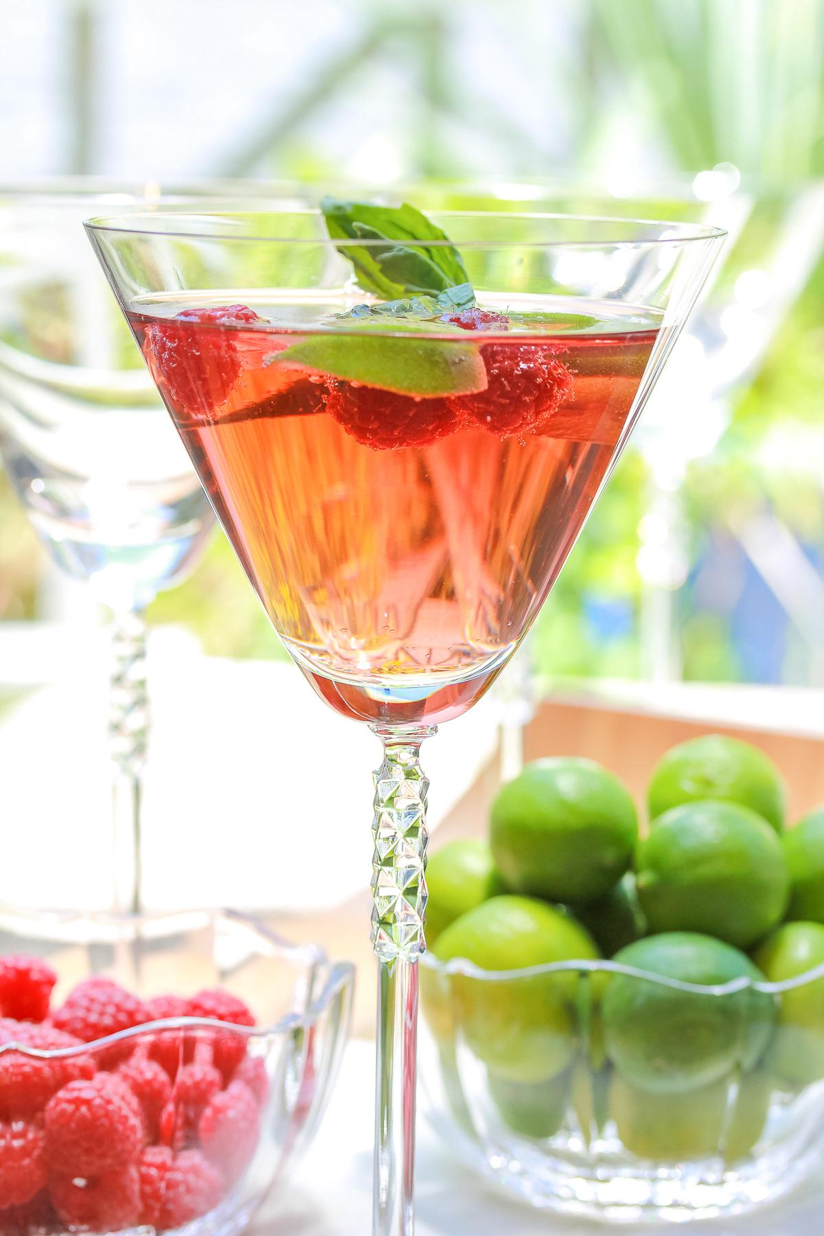 Fresh Basil Raspberry Mojitos