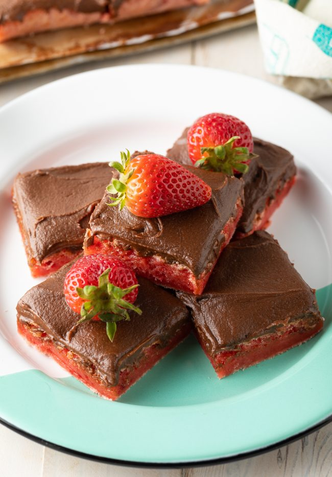 The Best Boxed Cake Mix Strawberry Brownies