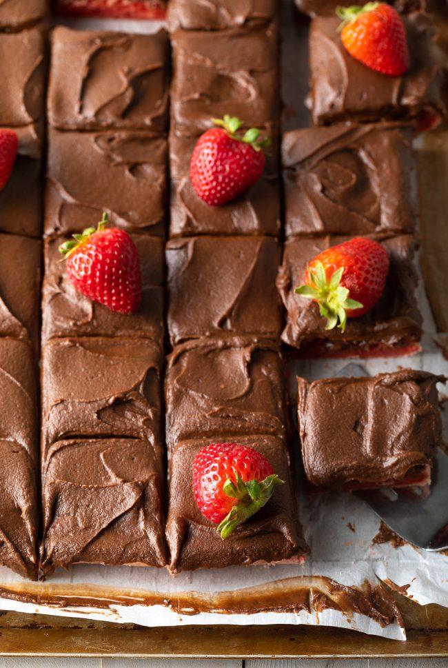 fresh strawberries on brownies