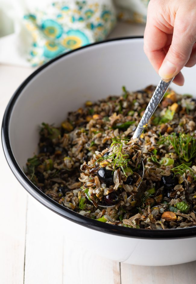 wild rice salad recipe with fresh blueberries, herbs, and citrus vinaigrette