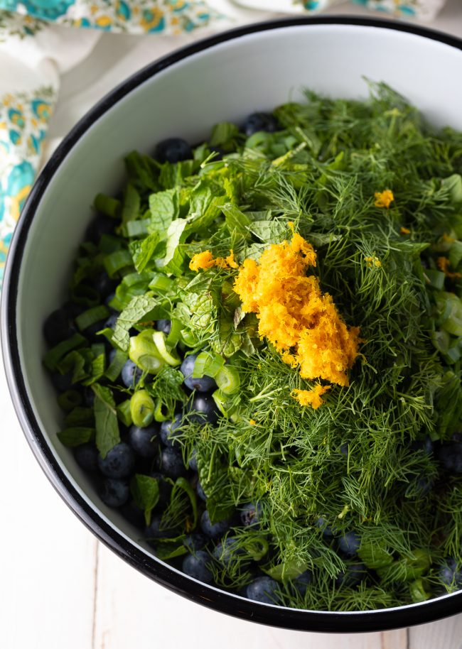 fresh herbs, citrus zest, blueberries, rice