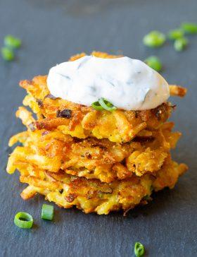Potato Latkes with Jalapeño Dill Sauce Recipe