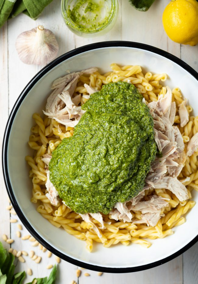 pasta, chicken, and pesto