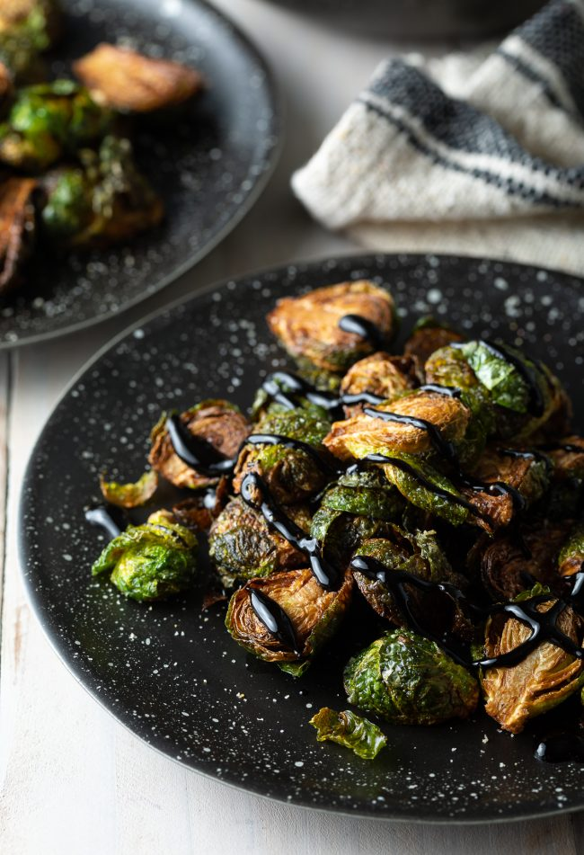 crispy brussels sprouts with balsamic glaze