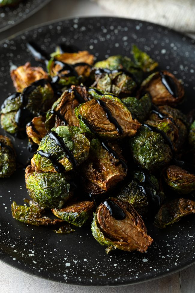 fried brussels sprouts with balsamic glaze