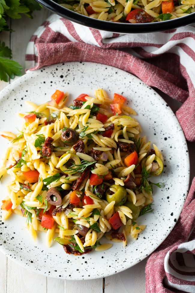 greek orzo salad with lemon vinaigrette recipe