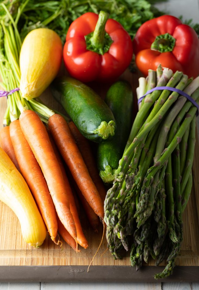asparagus, carrots, zucchini, squash, red peppers