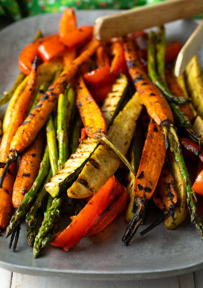 summer marinated vegetables on the grill