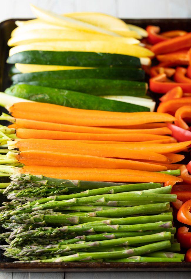 fresh sliced summer veggies