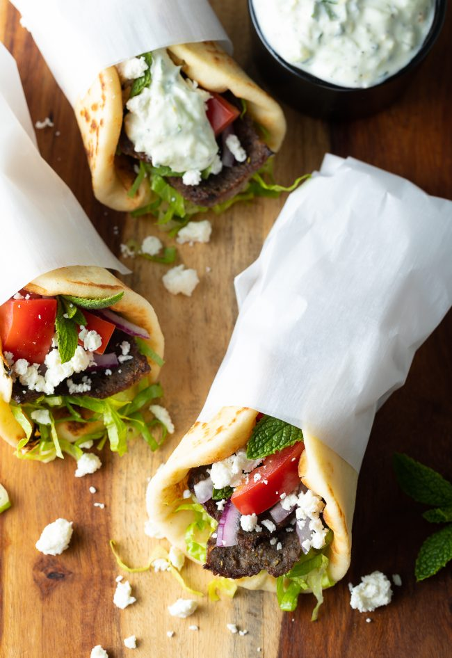 authentic gyros made with homemade lamb gyro meat
