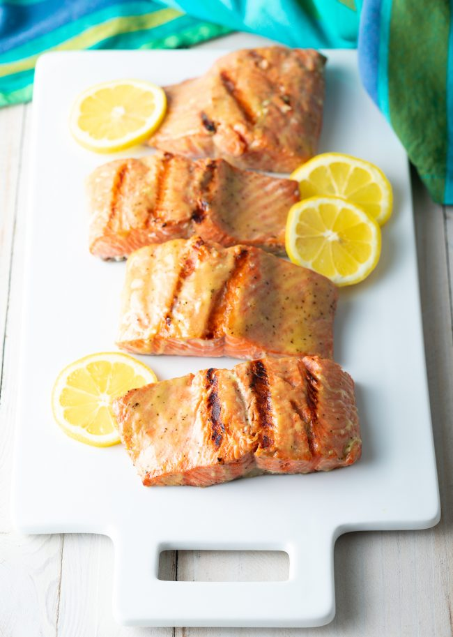 dijon lemon brown sugar marinaded salmon on the grill