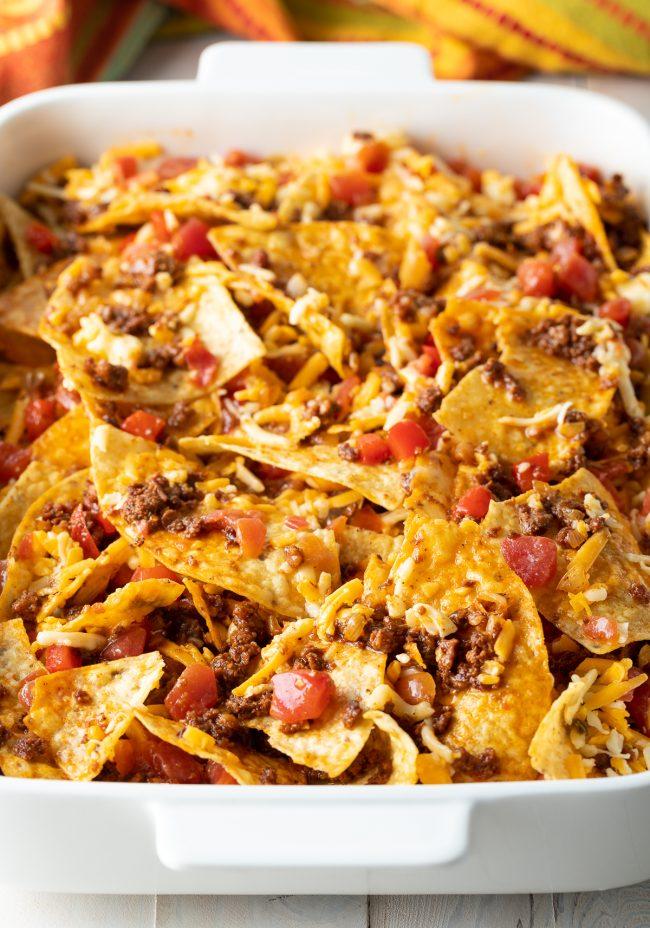 gluten-free breakfast casserole with tortilla chips