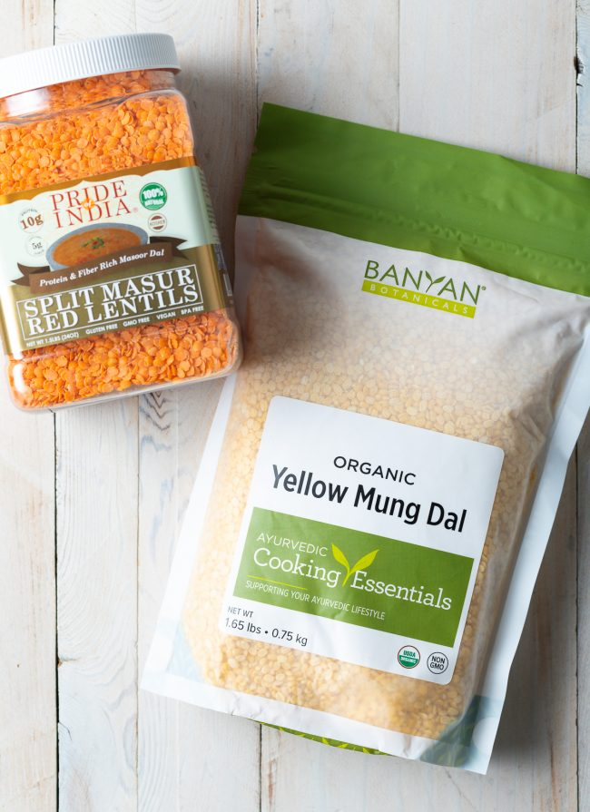 red lentils and yellow split peas