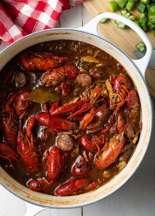 crawfish, sausage, roux, cajun seasoning