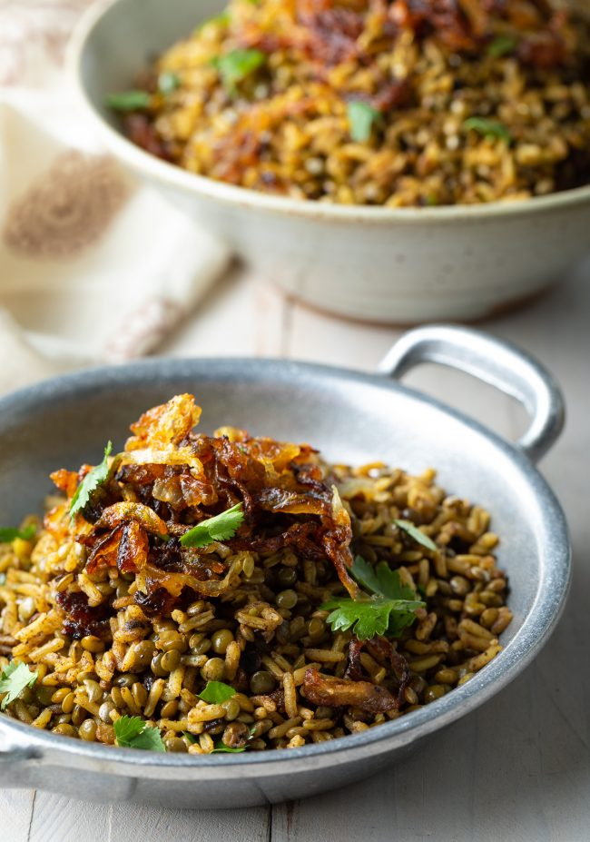 Crispy onions on top of some lebanese rice