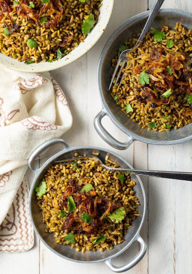 Individual servings of this Mujadara lentil recipe in metal bowls