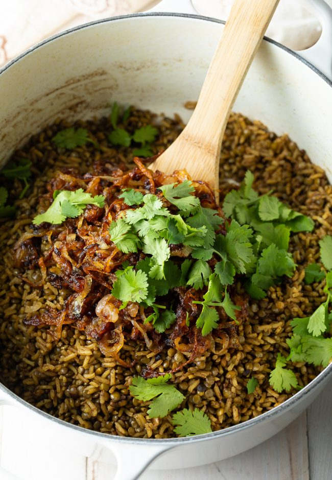 cilantro and crispy fried onions with lebanese rice