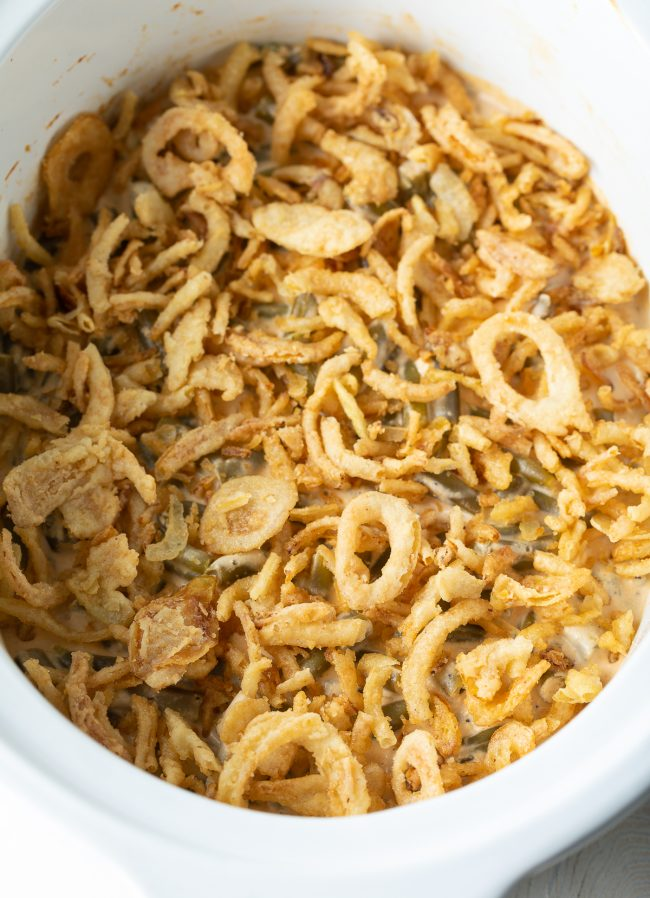 green bean casserole in the slow cooker