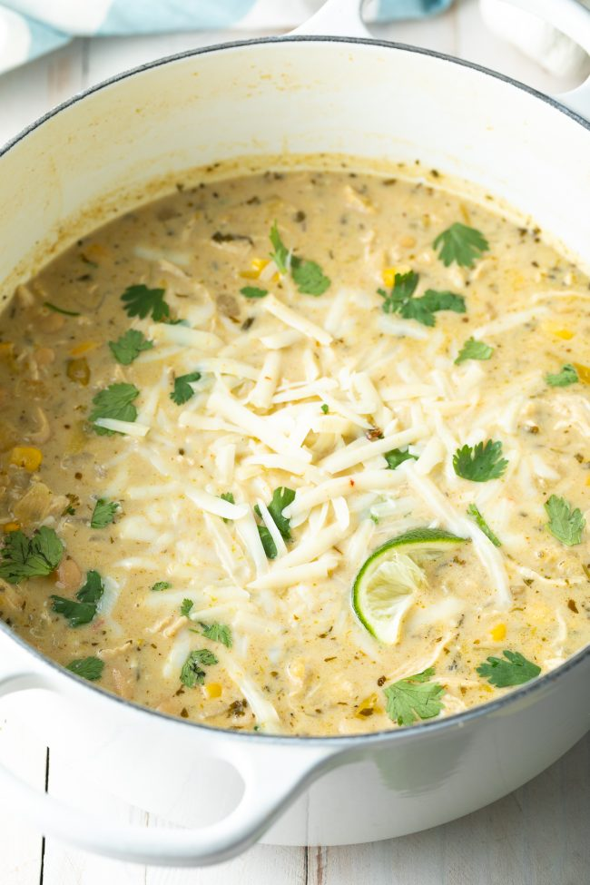 creamy white chicken chili on the stovetop, instant pot, or slow cooker