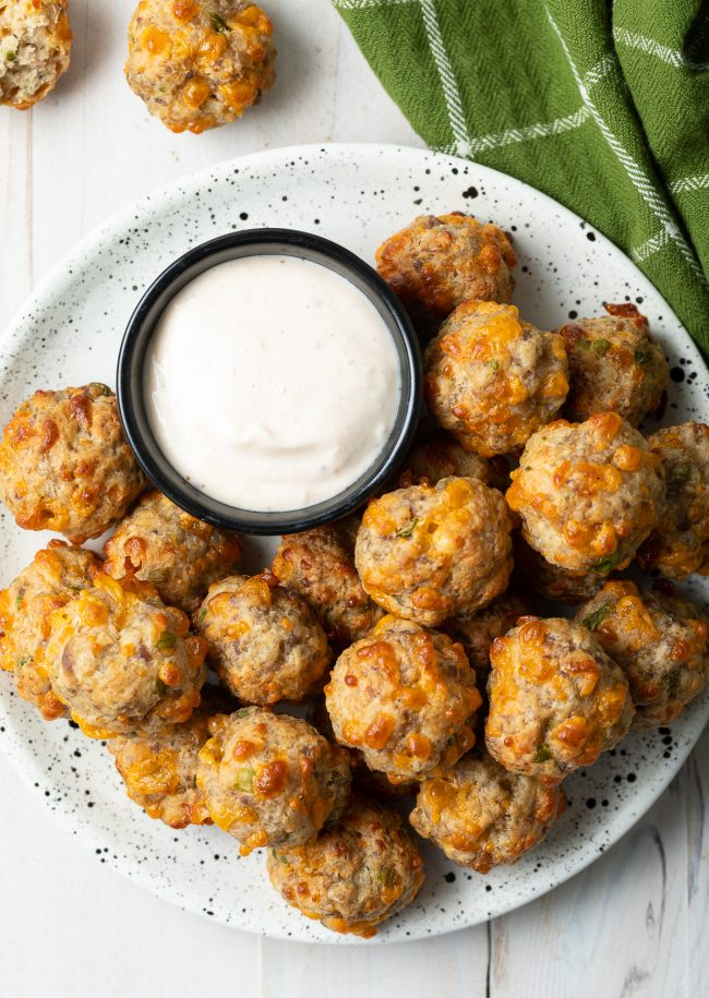 cheese and sausage balls made with Bisquick