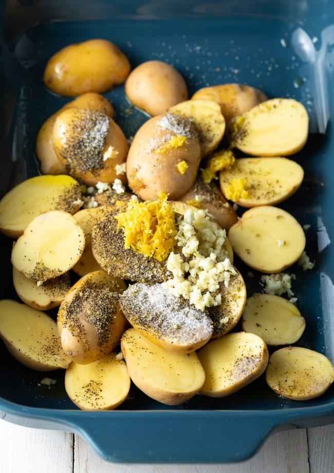 potatoes, garlic, lemon, oregano