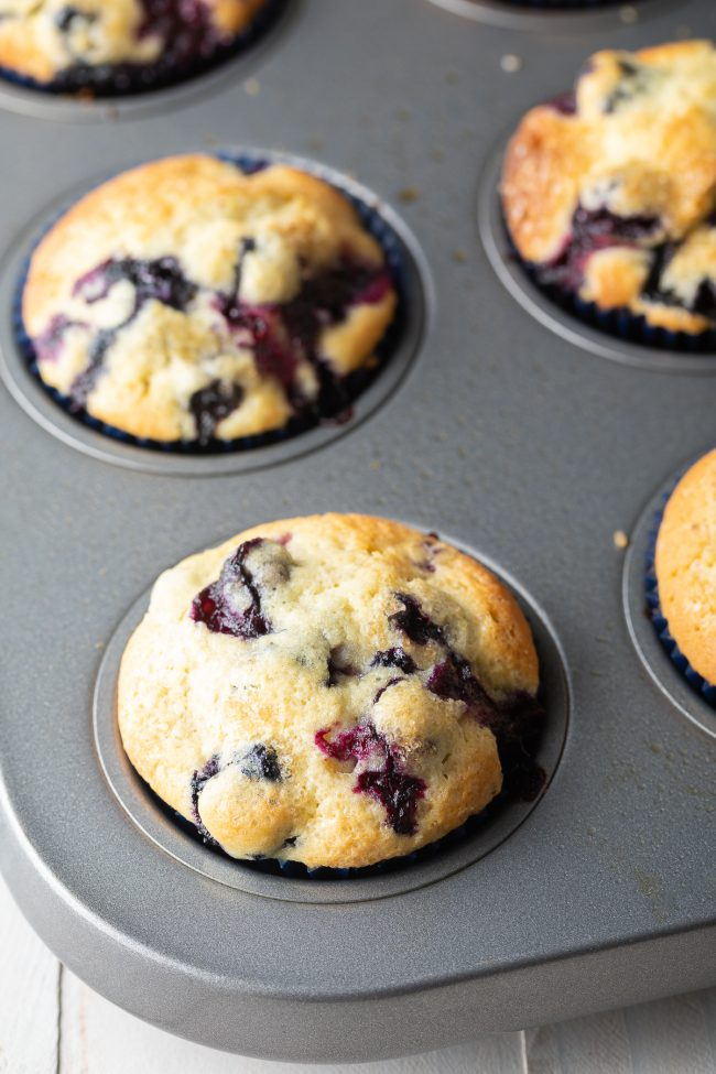 baked blueberry and lemon muffins