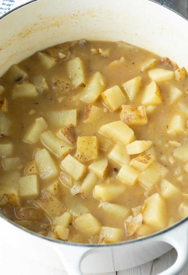 potatoes and chicken broth