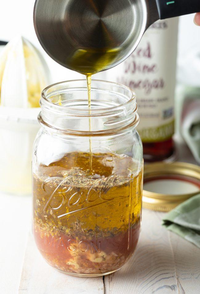 extra virgin olive oil, red wine vinegar, dijon mustard, and spices