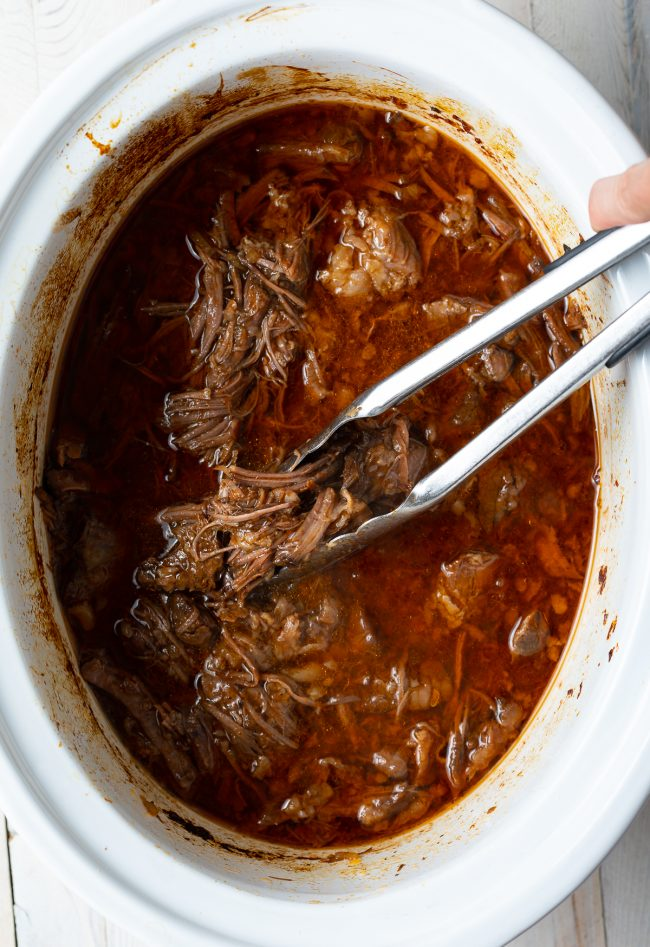 shredded roast beef made in the slow cooker crockpot