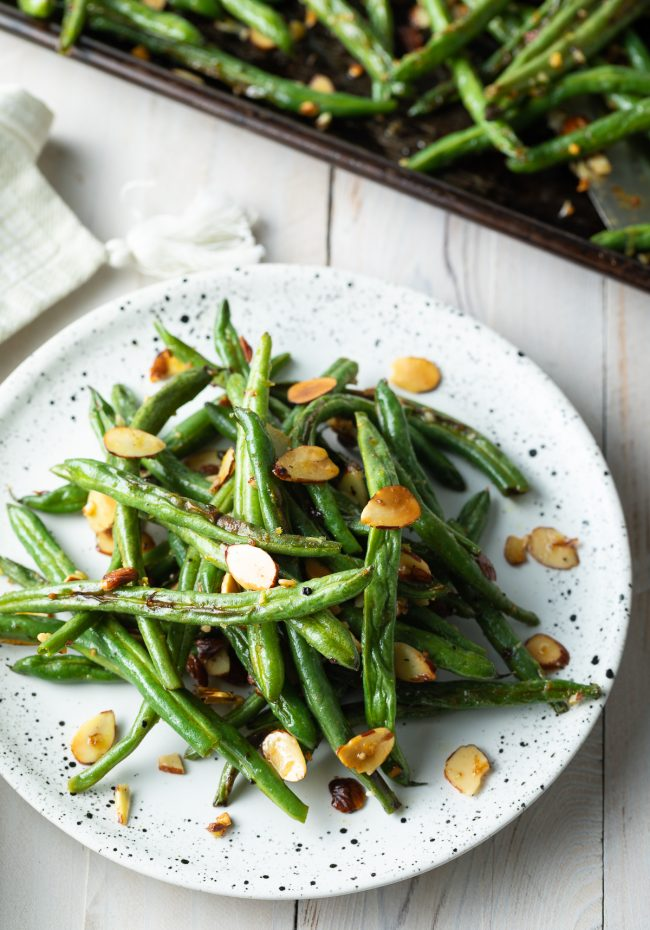 roasted green beans and sliced almonds