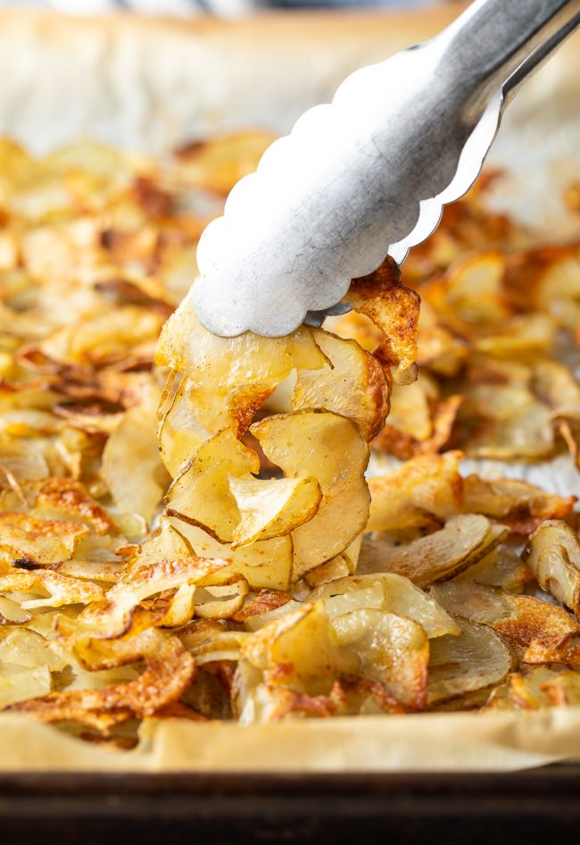 thinly sliced oven roasted potatoes