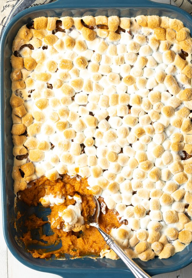 baked sweet potato casserole with pecans and marshmallows