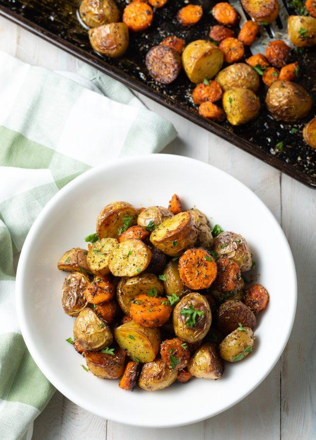 roasted veggies and herbs