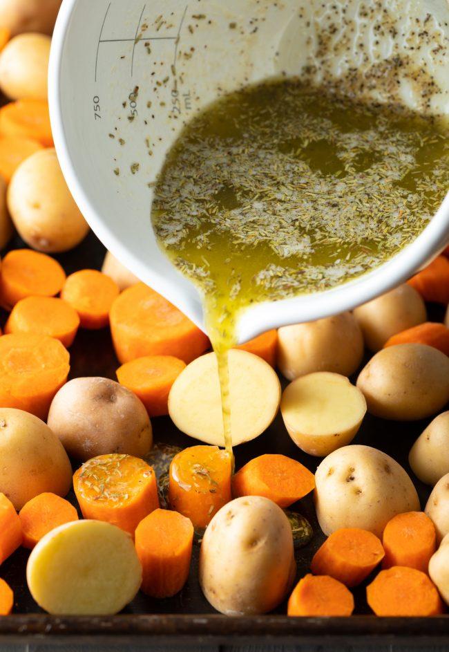 oil and seasonings