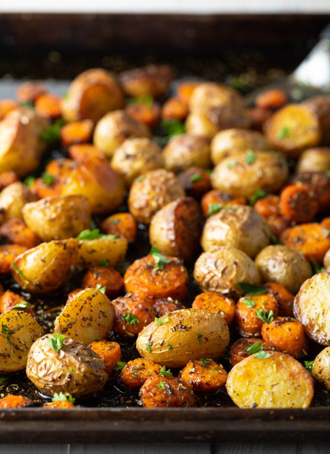 Potatoes, carrots, and herbs
