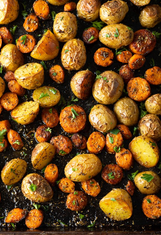 roasted carrots with potatoes and fresh herbs