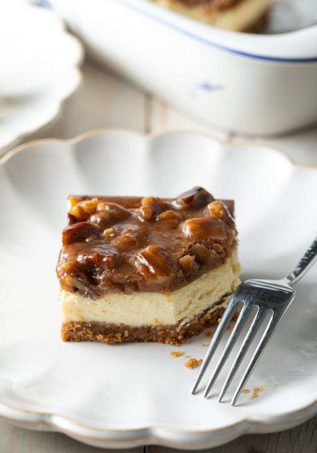 cheesecake with caramel pecan topping