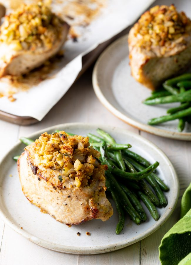 apple and stuffing baked stuffed pork chop recipe with green beans