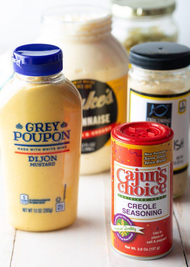cajun seasoning, mayo, mustard, and relish
