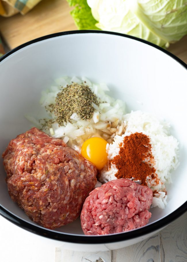 ground sausage, beef, egg, and rice