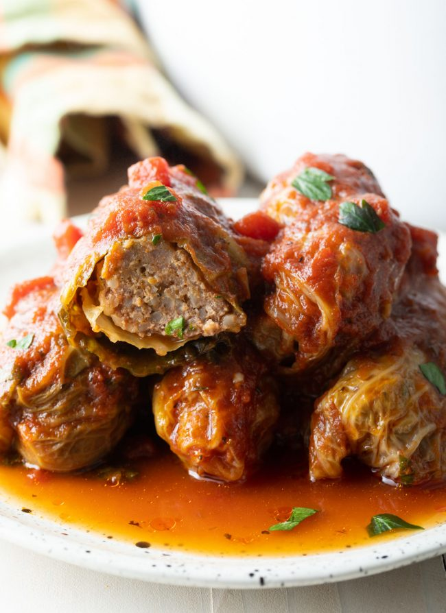 stack of homemade polish stuffed cabbage rolls