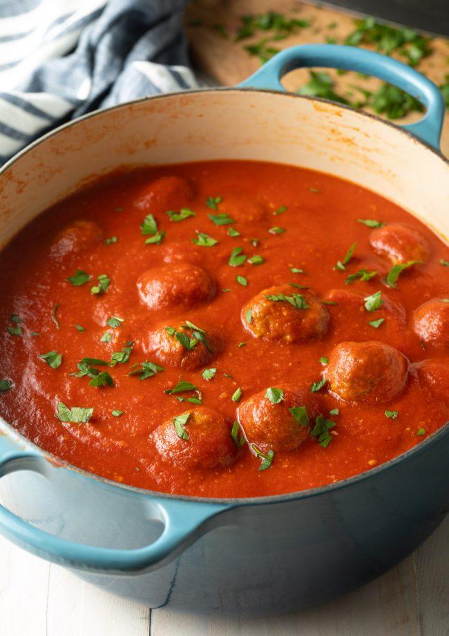 italian meatballs in homemade tomato sauce
