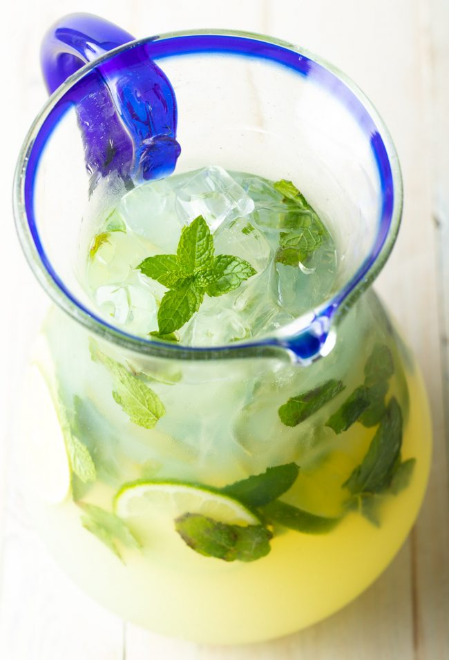 pitcher of mojitos virgin or with rum or vodka