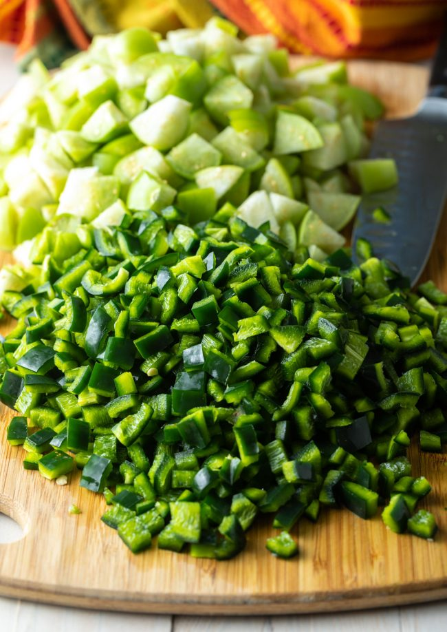 chopped peppers and tomatillos
