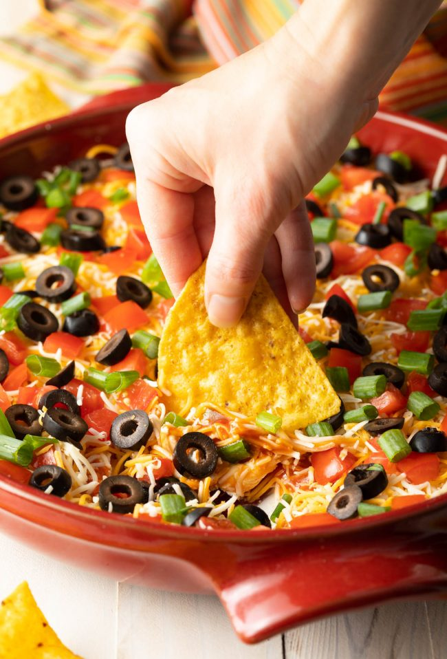layered taco pizza dip
