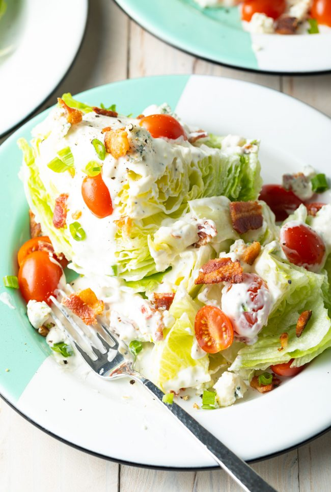 wedge salad with homemade blue cheese