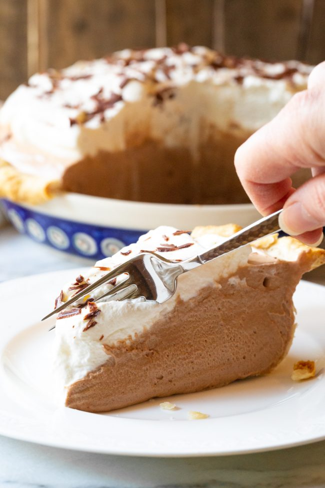 Best french silk pie with fork cutting the first bite