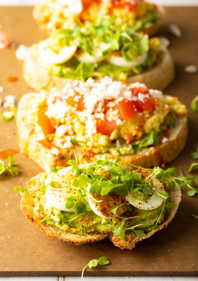 bread with avocado, egg, and microgreens