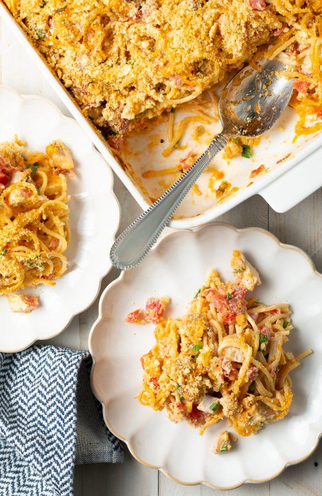 chicken spaghetti casserole with rotel