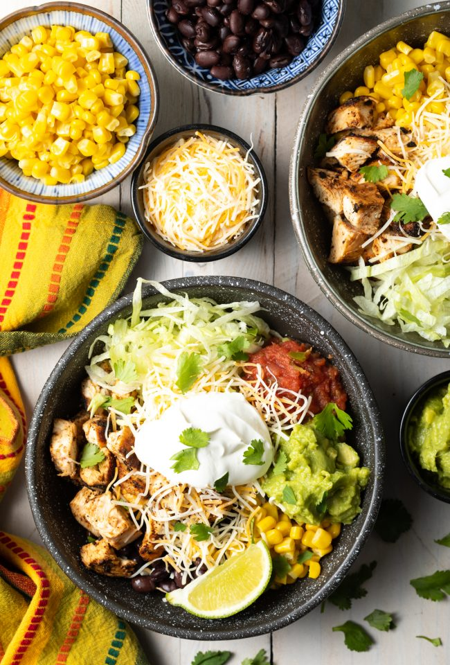 burrito bowls loaded with southwestern toppings